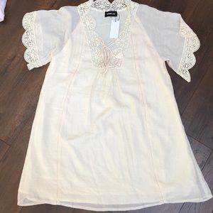 Crochet trim tunic dress